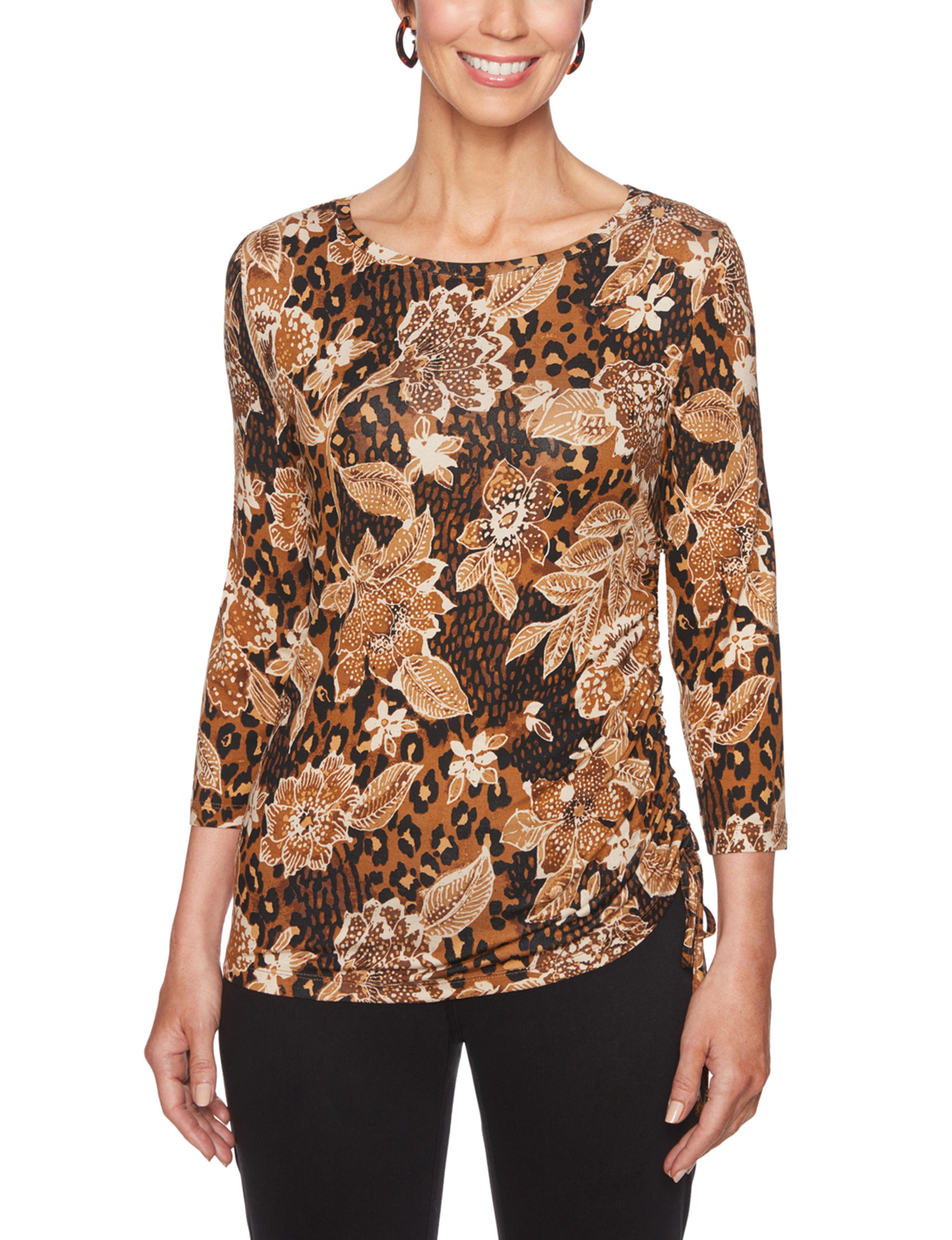 Ruby Road Brown Multi Shirts & Blouses