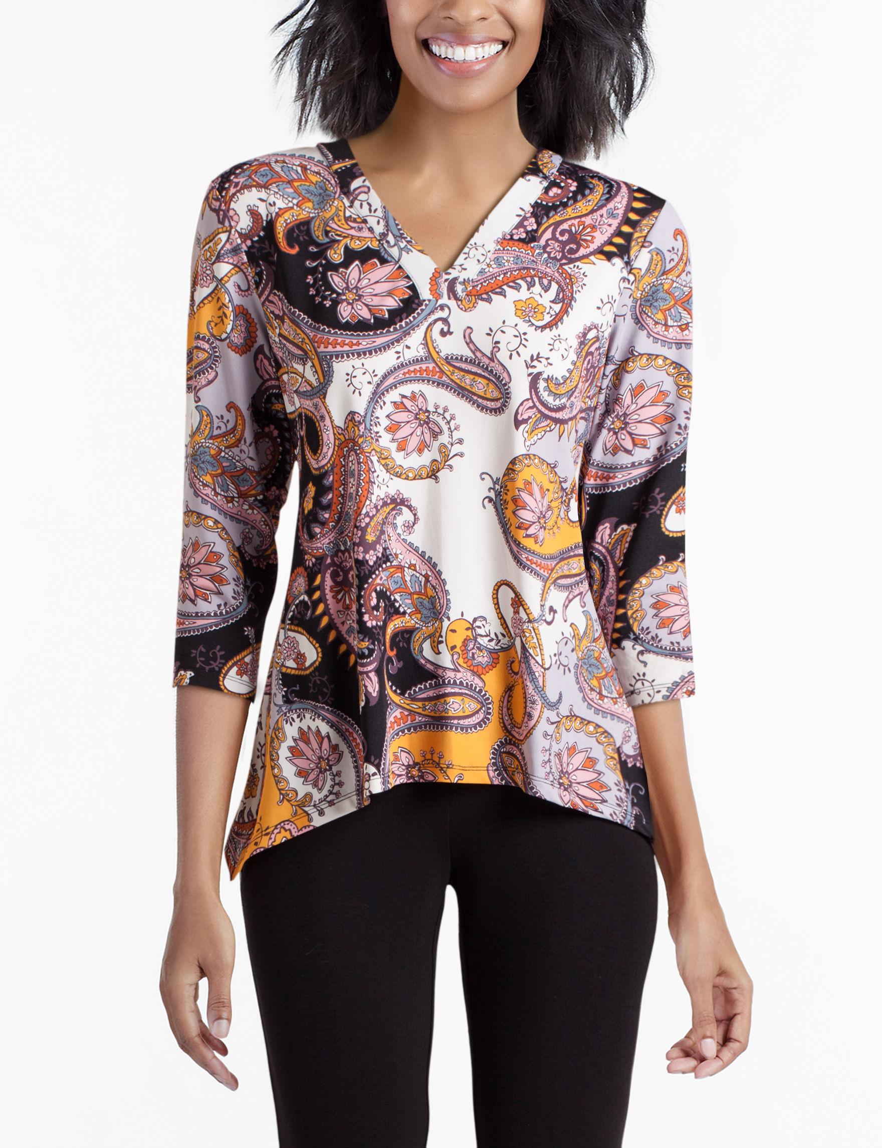 Zac & Rachel Purple Multi Shirts & Blouses