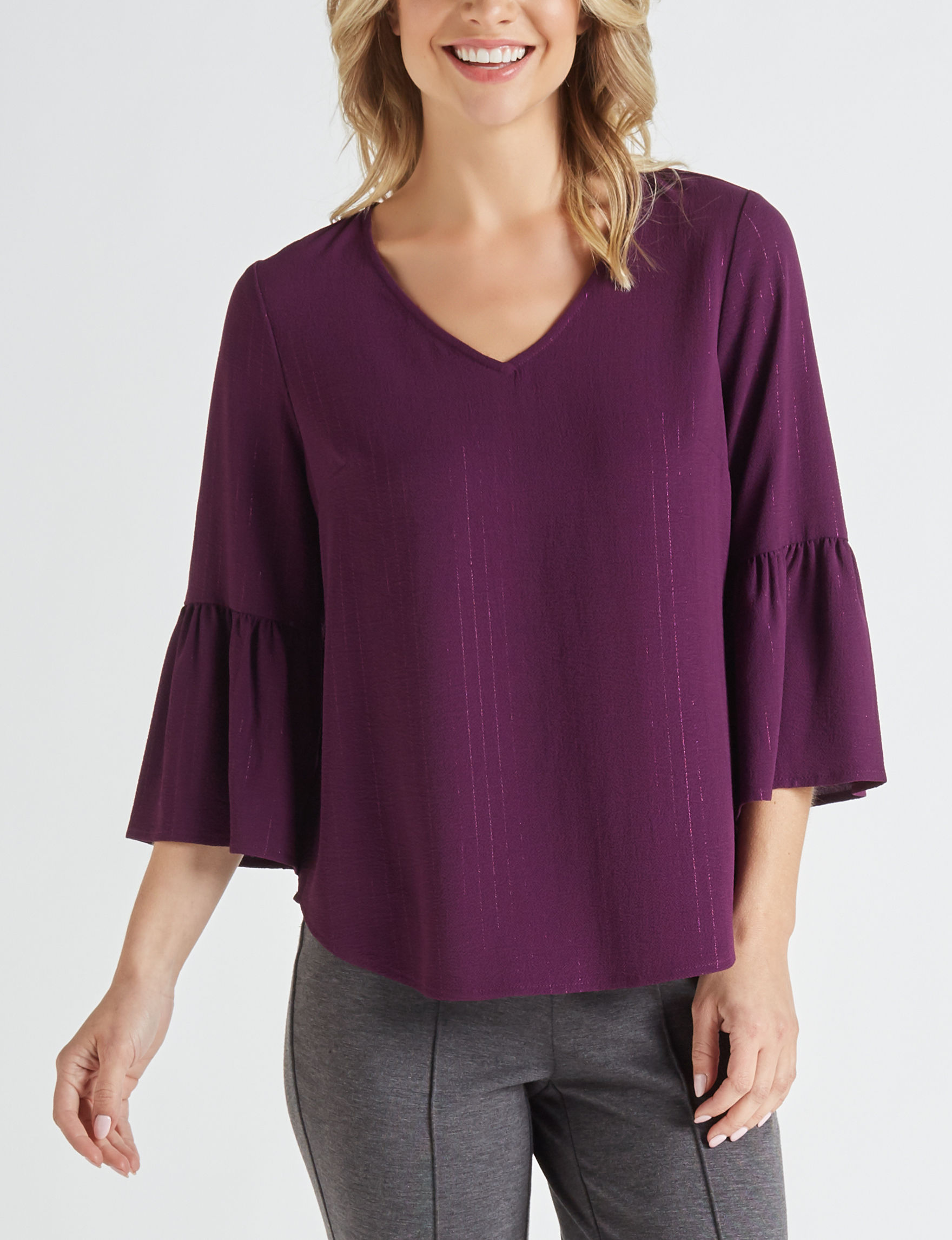 NY Collection Plum Shirts & Blouses