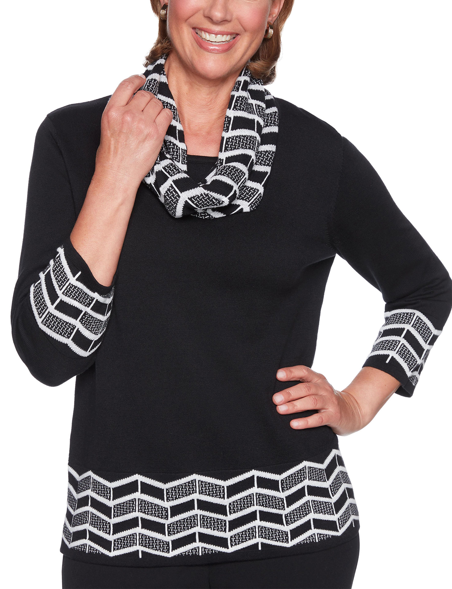 Alfred Dunner Black Pull-overs