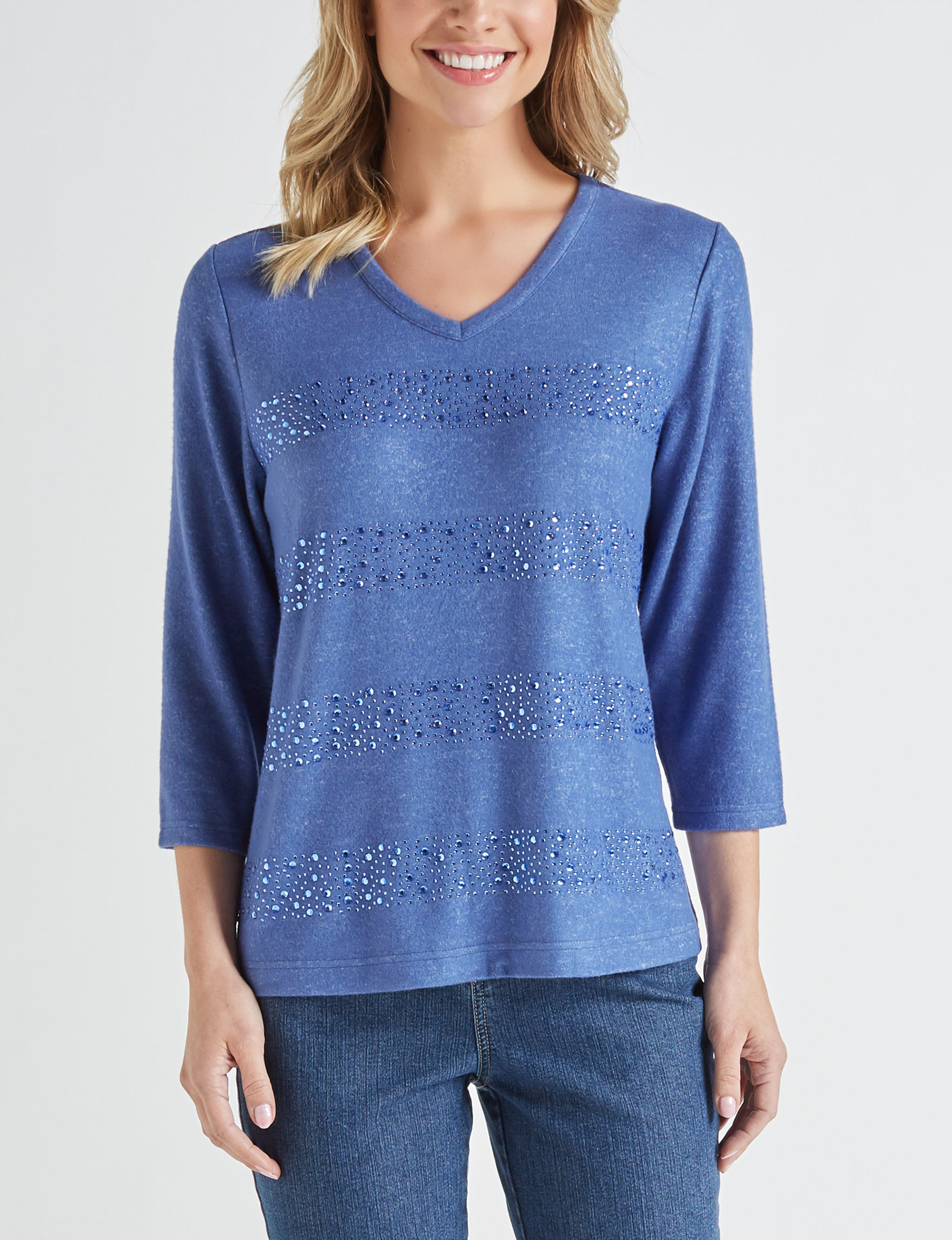 Cathy Daniels Blue Pull-overs Regular