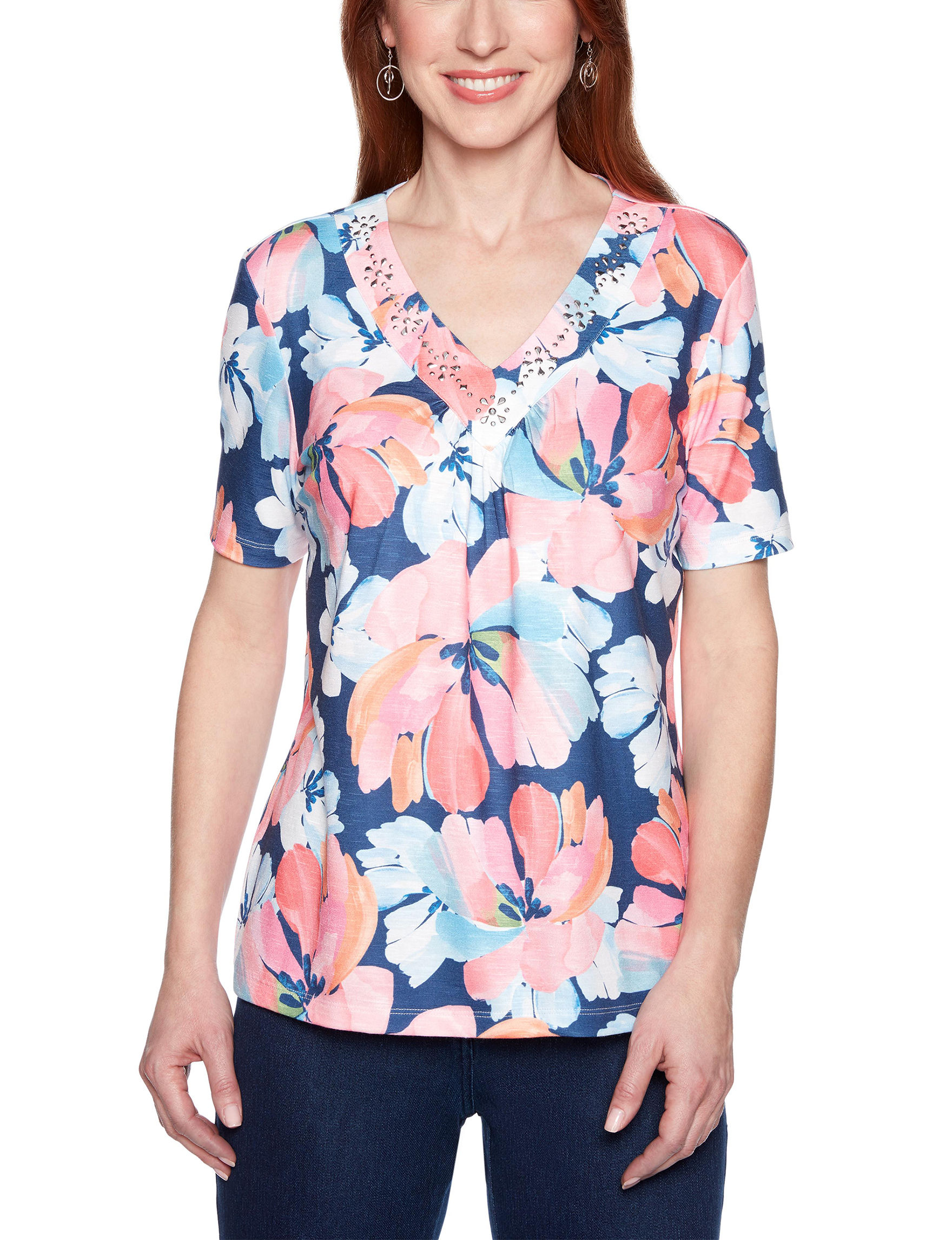 Alfred Dunner Blue Floral Shirts & Blouses