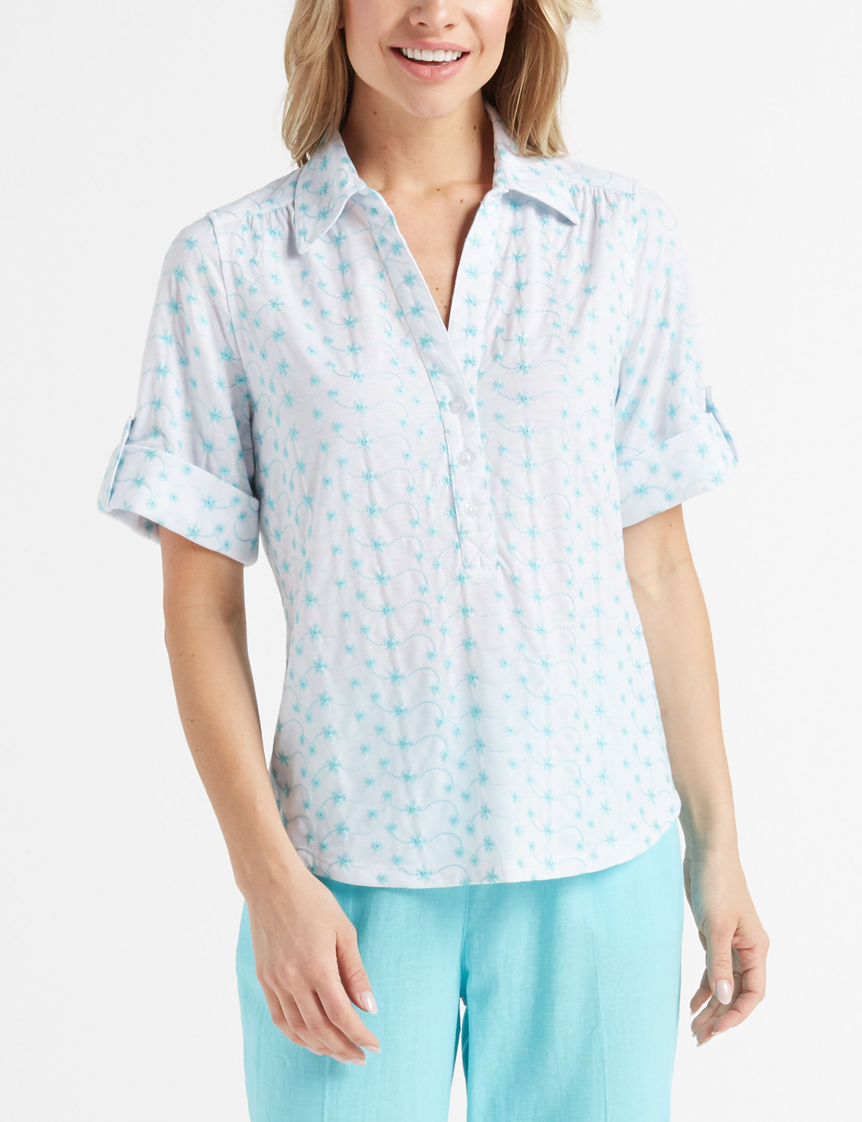 Cathy Daniels White / Aqua Shirts & Blouses