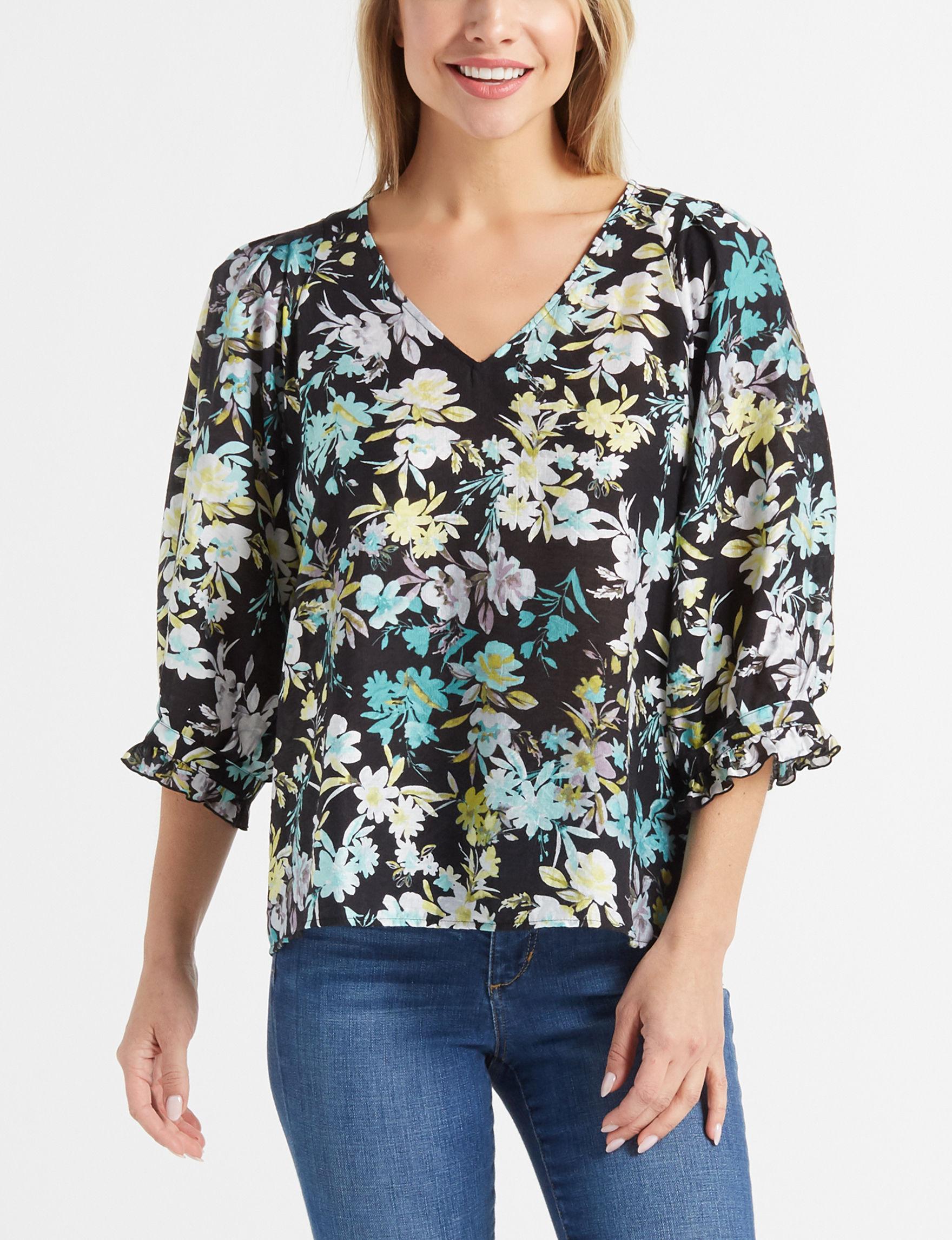 Zac & Rachel Black Floral Shirts & Blouses