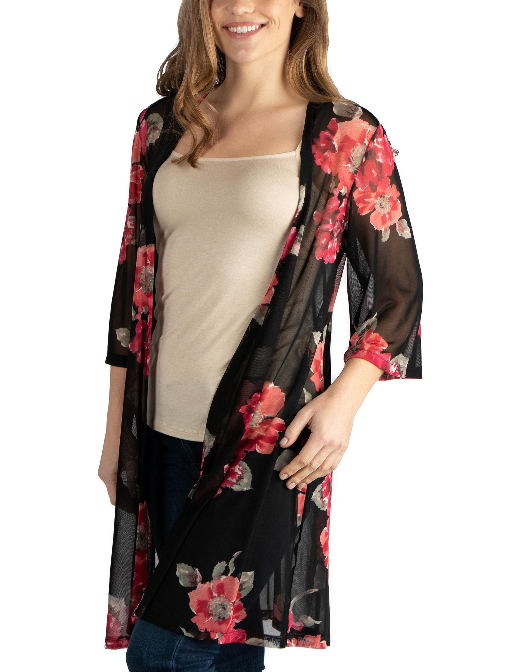 fc4a329074 24Seven Comfort Apparel Maternity Floral Kimono Cardigan