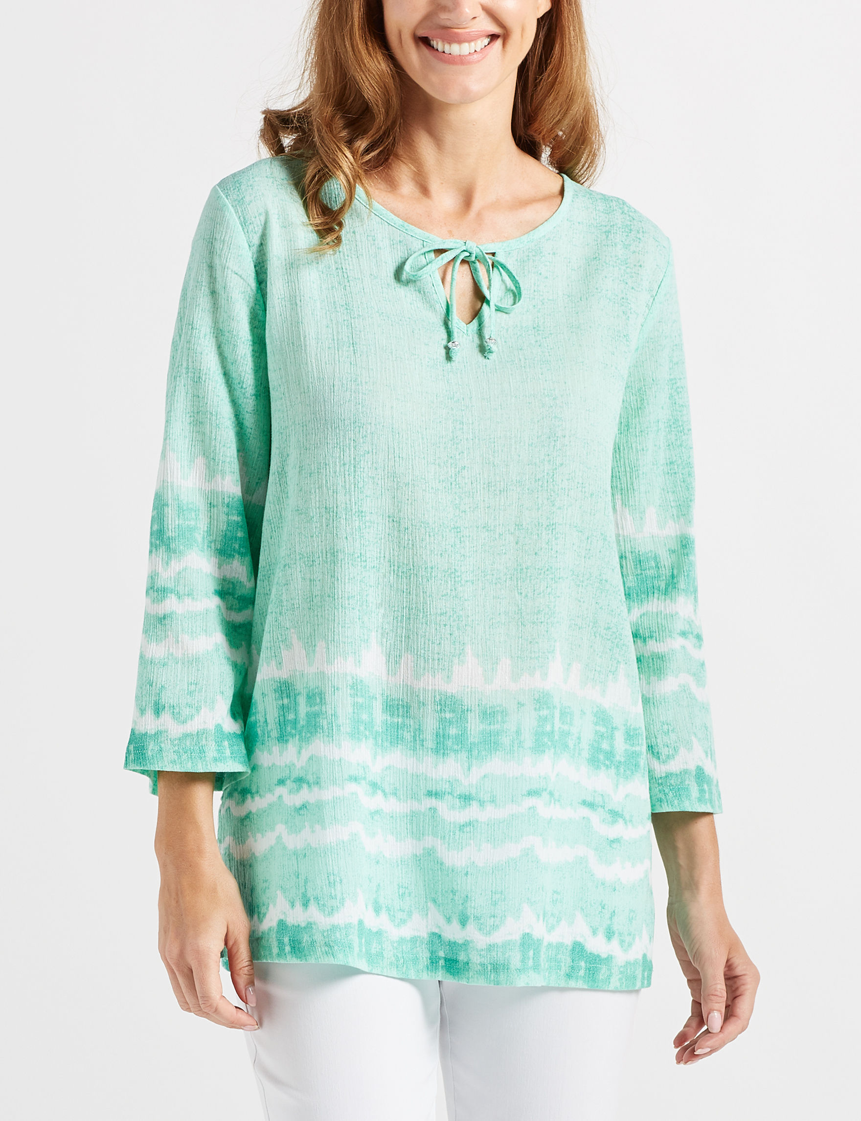 Cathy Daniels Aqua Shirts & Blouses