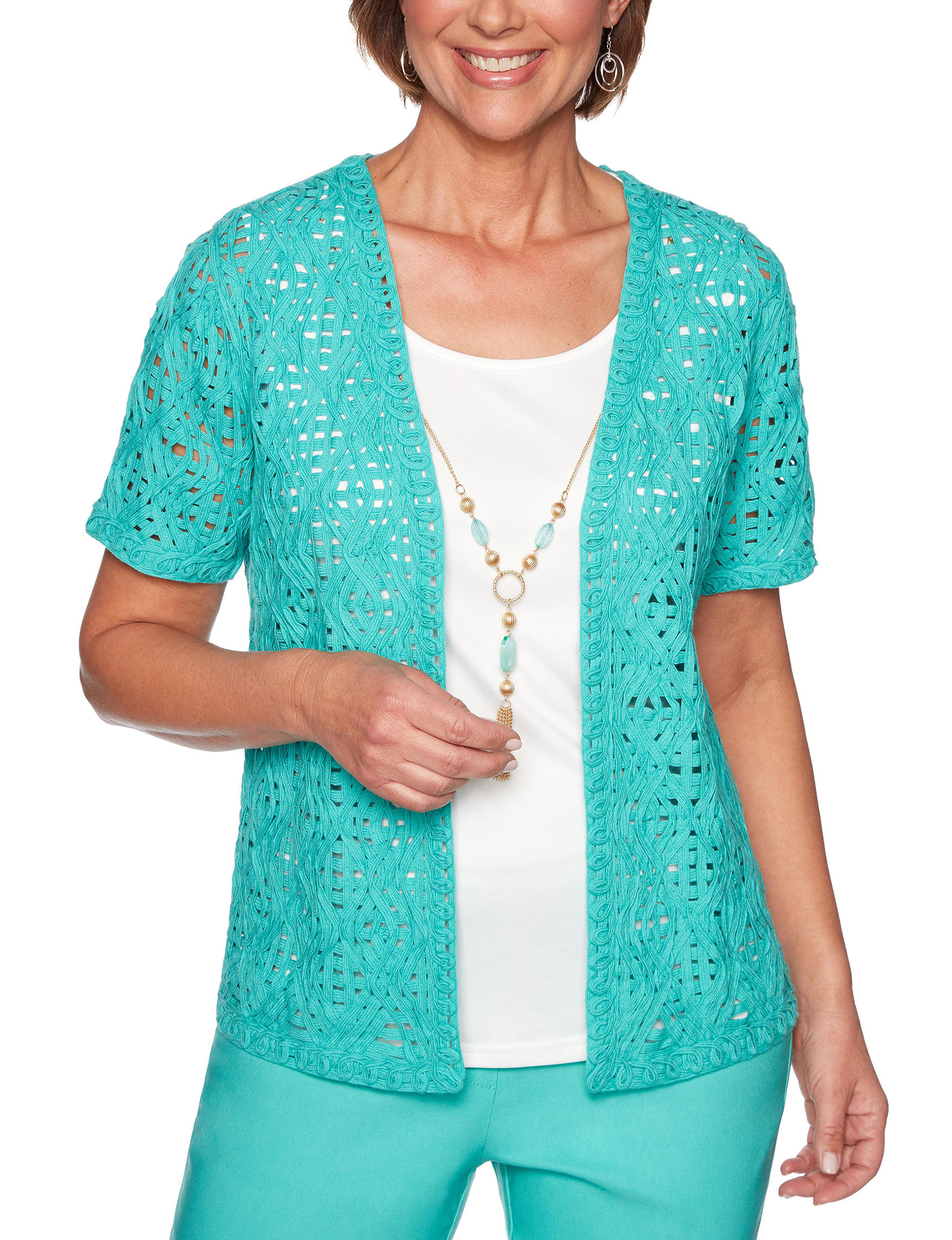 Alfred Dunner Aqua Shirts & Blouses