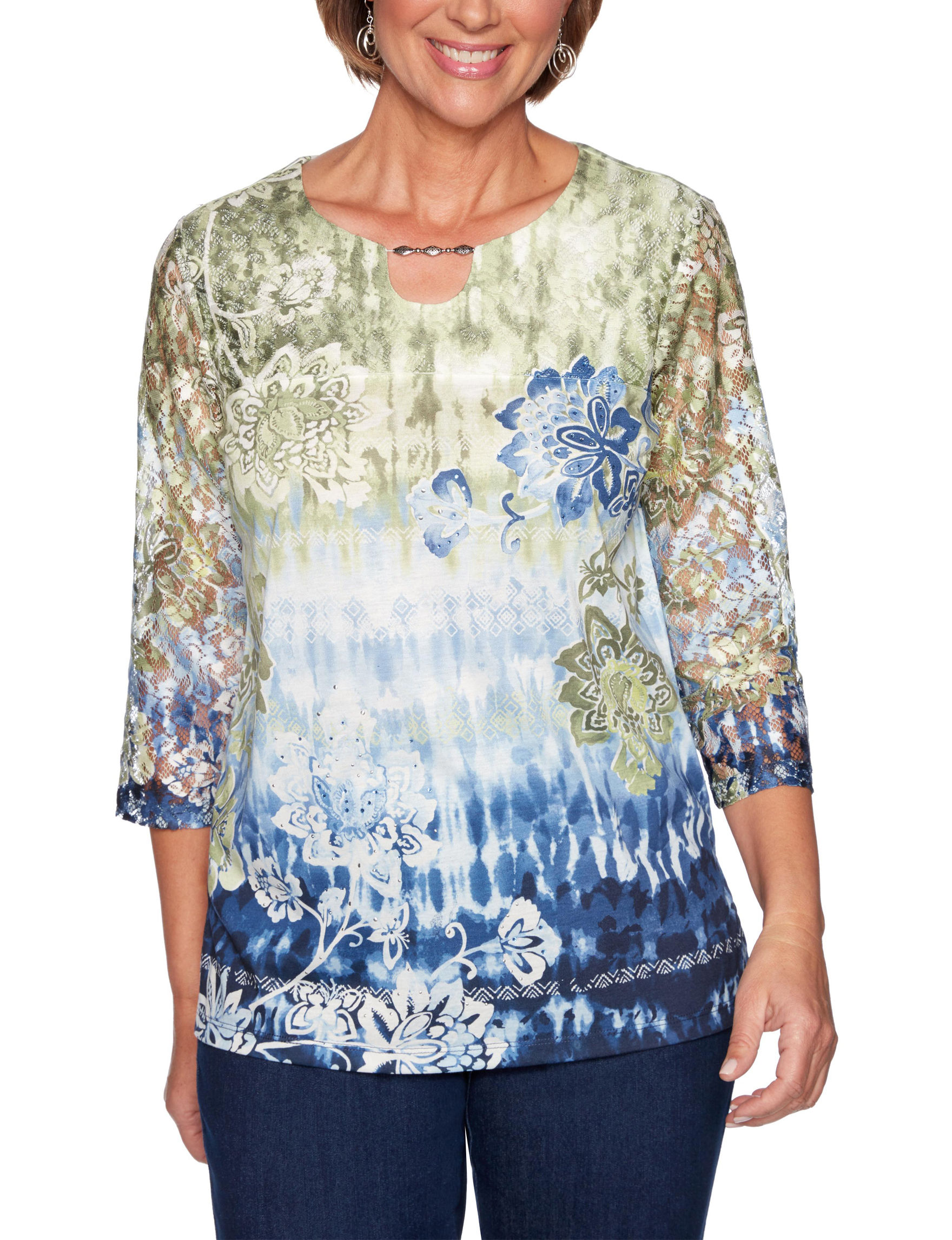 Alfred Dunner White / Blue Shirts & Blouses