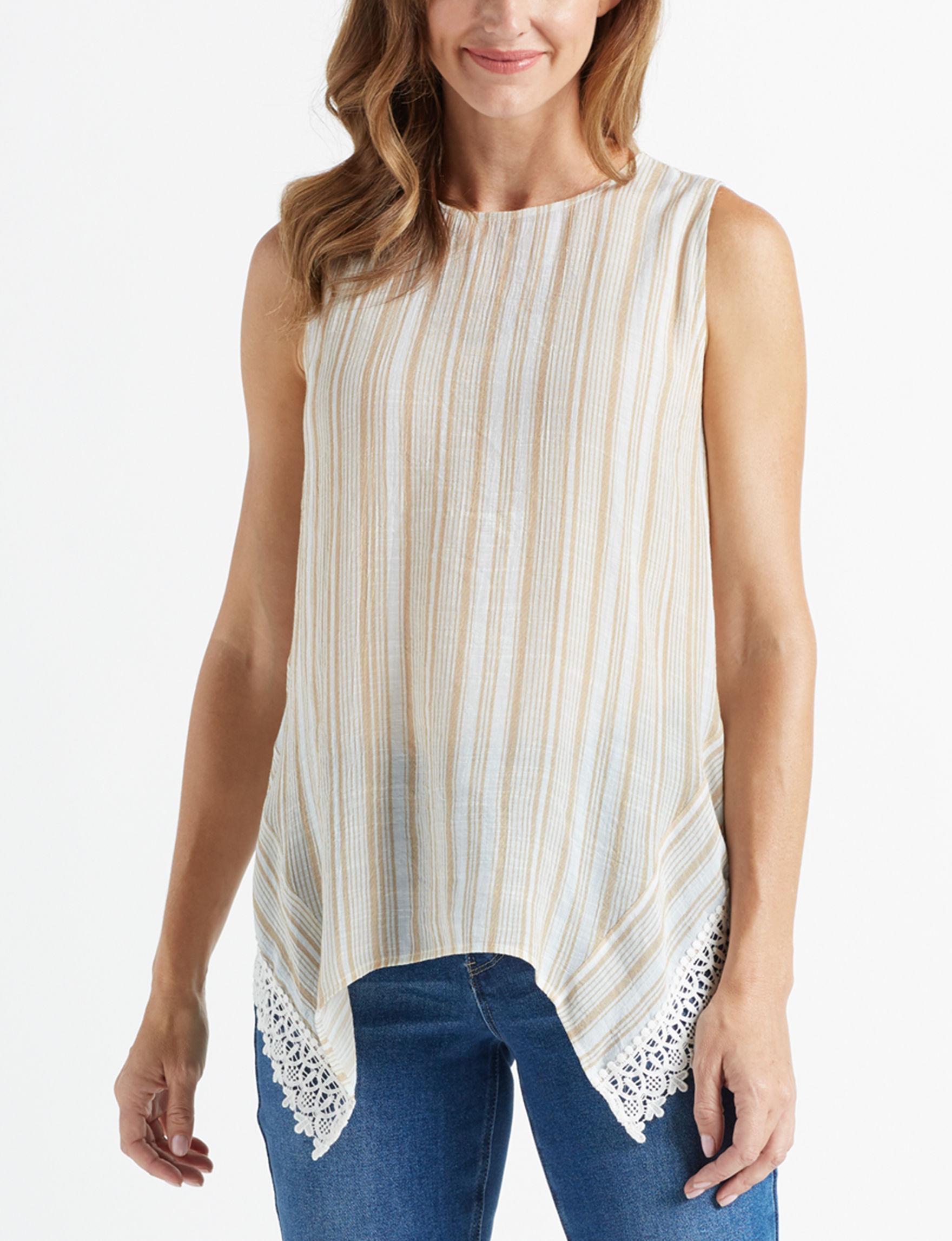 Zac & Rachel Beige Stripe Shirts & Blouses