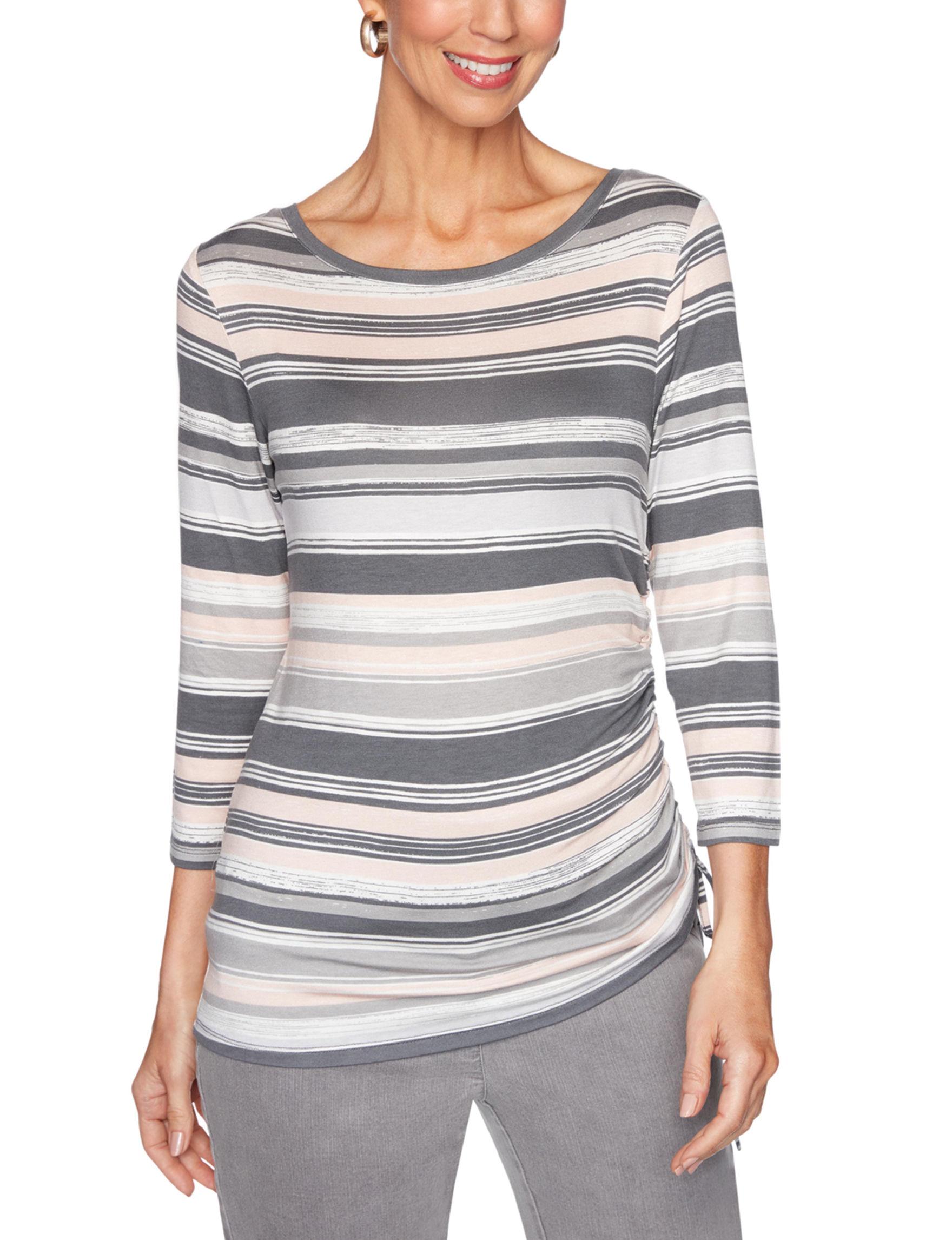 Ruby Road Grey Stripe Shirts & Blouses