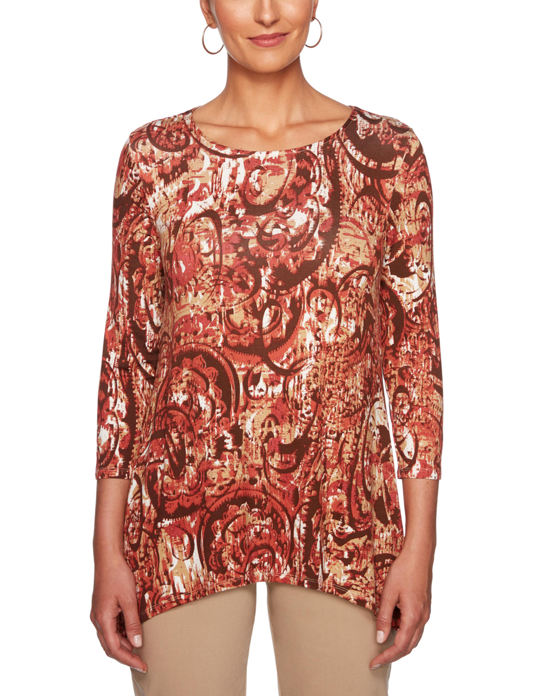 Ruby Road Red / Beige Shirts & Blouses