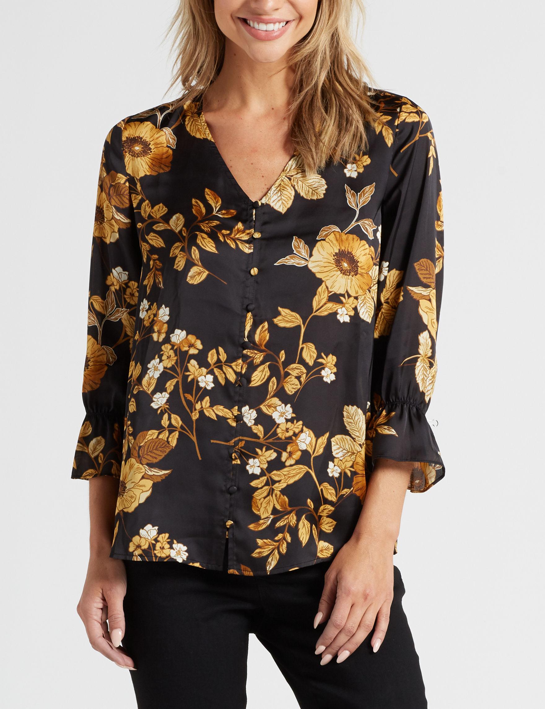 Rebecca Malone Black / Yellow Shirts & Blouses