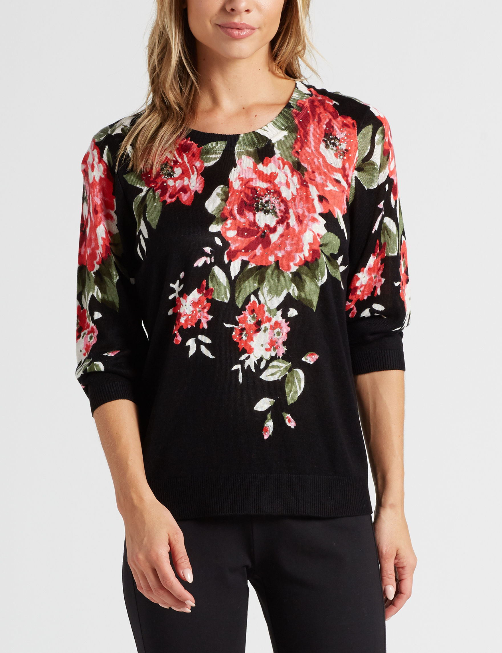 Rebecca Malone Black / Pink Pull-overs Shirts & Blouses