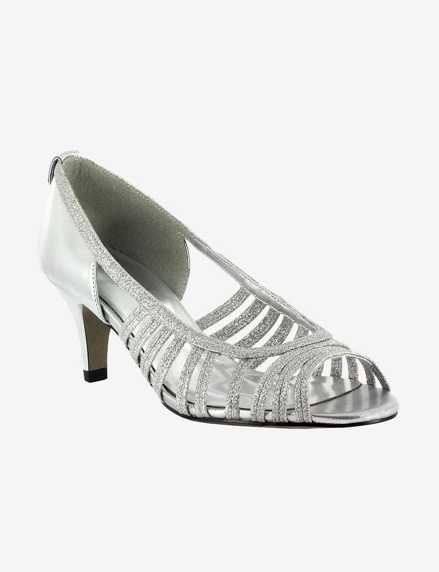 Easy Street Silver Peep Toe
