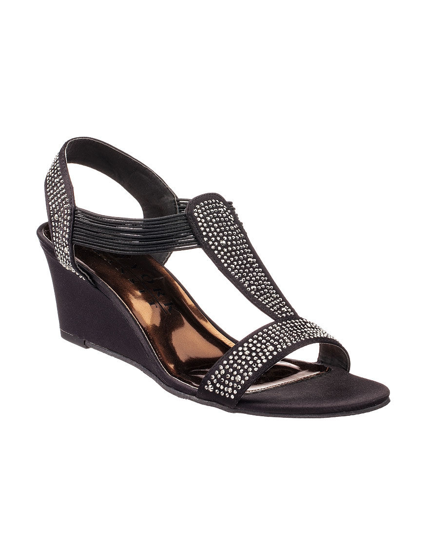 New York Transit Black Wedge Sandals