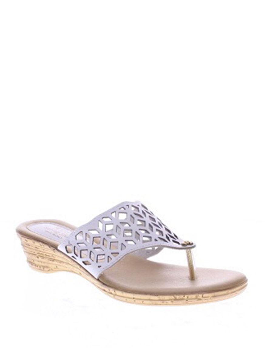 Spring Step White Flip Flops Wedge Sandals