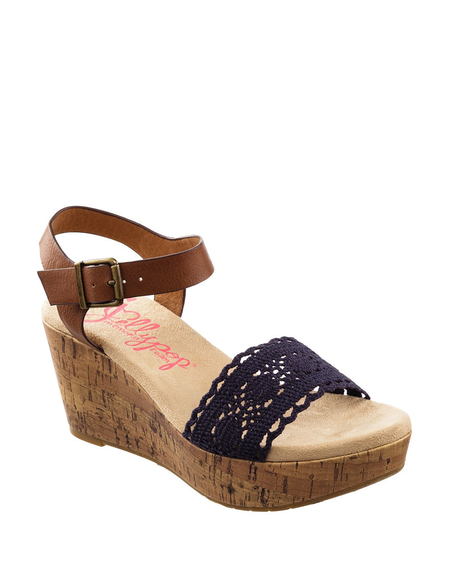 Jellypop Navy Wedge Sandals