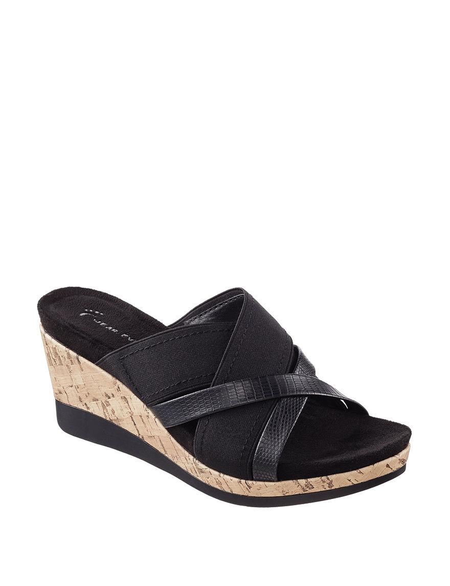 Wear. Ever. Black Wedge Sandals