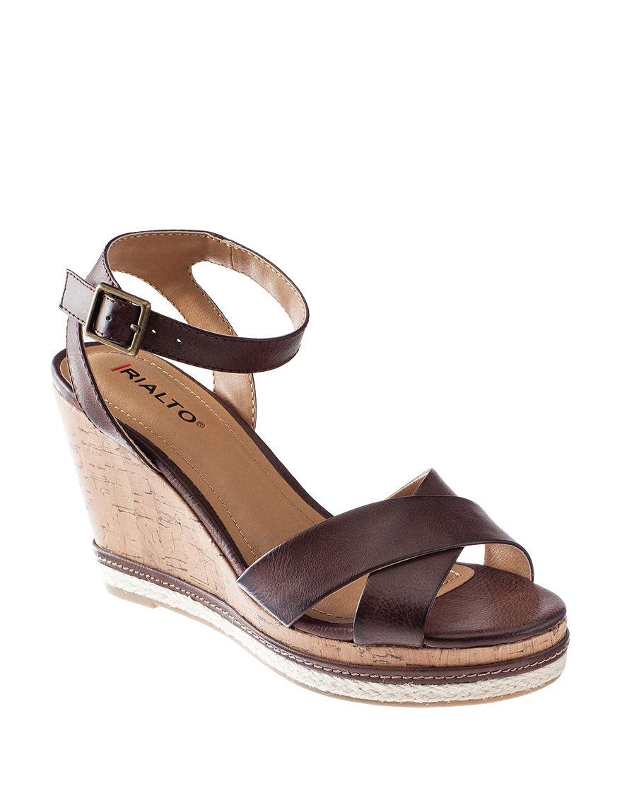 Rialto Brown Wedge Sandals Comfort
