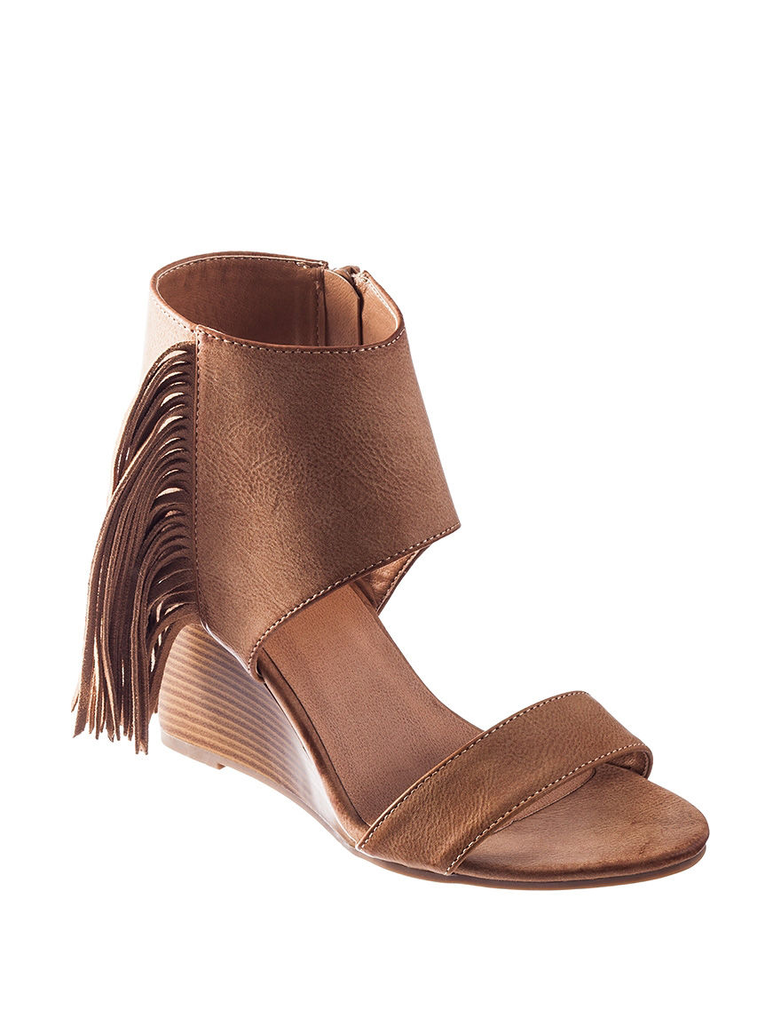 Rampage Taupe Wedge Sandals