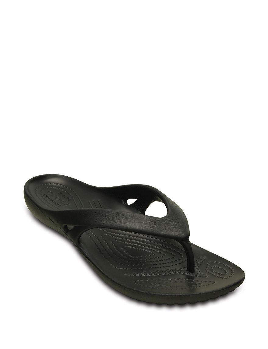 Crocs Black Flat Sandals Flip Flops Sport Sandals
