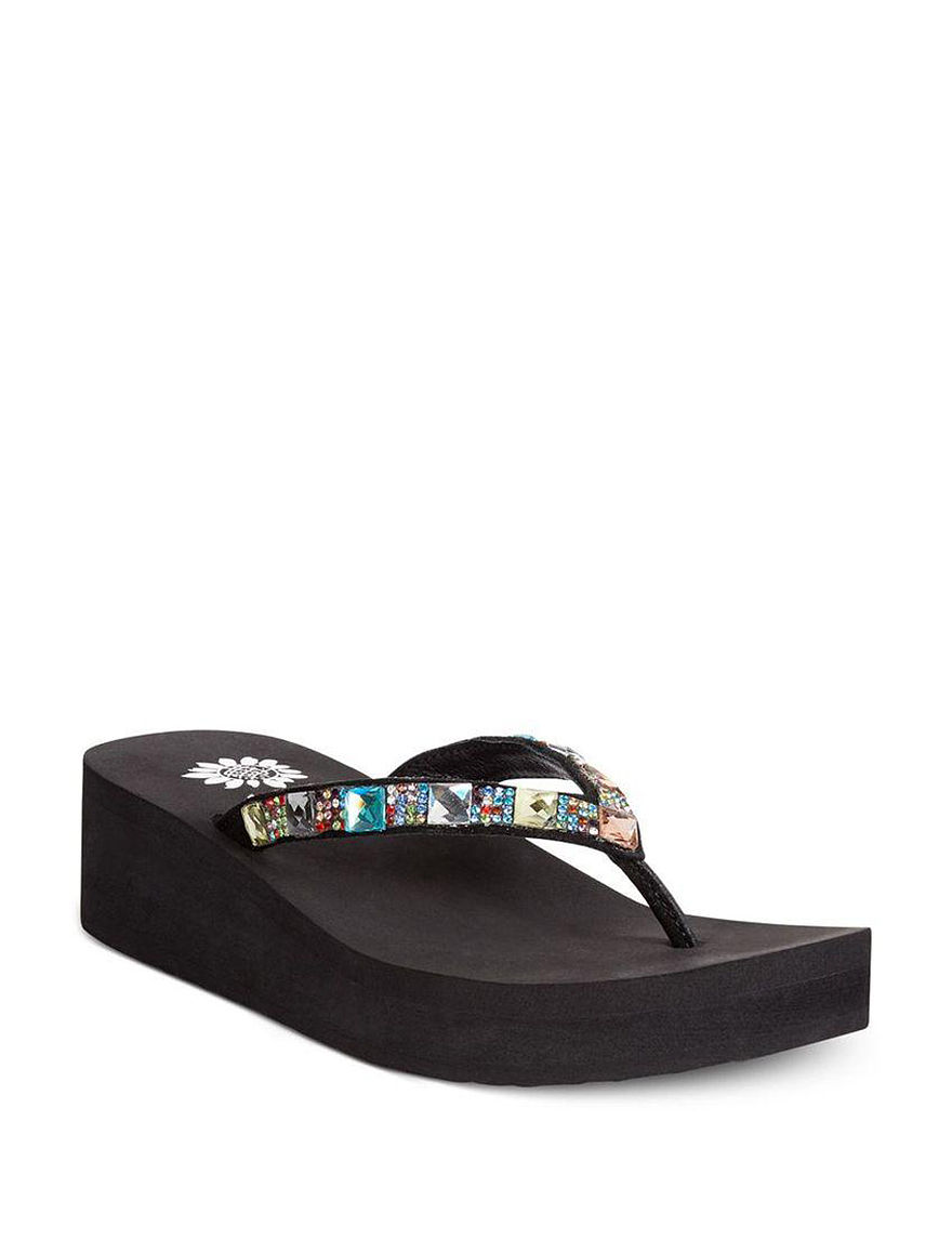 Yellow Box Black Flip Flops Wedge Sandals