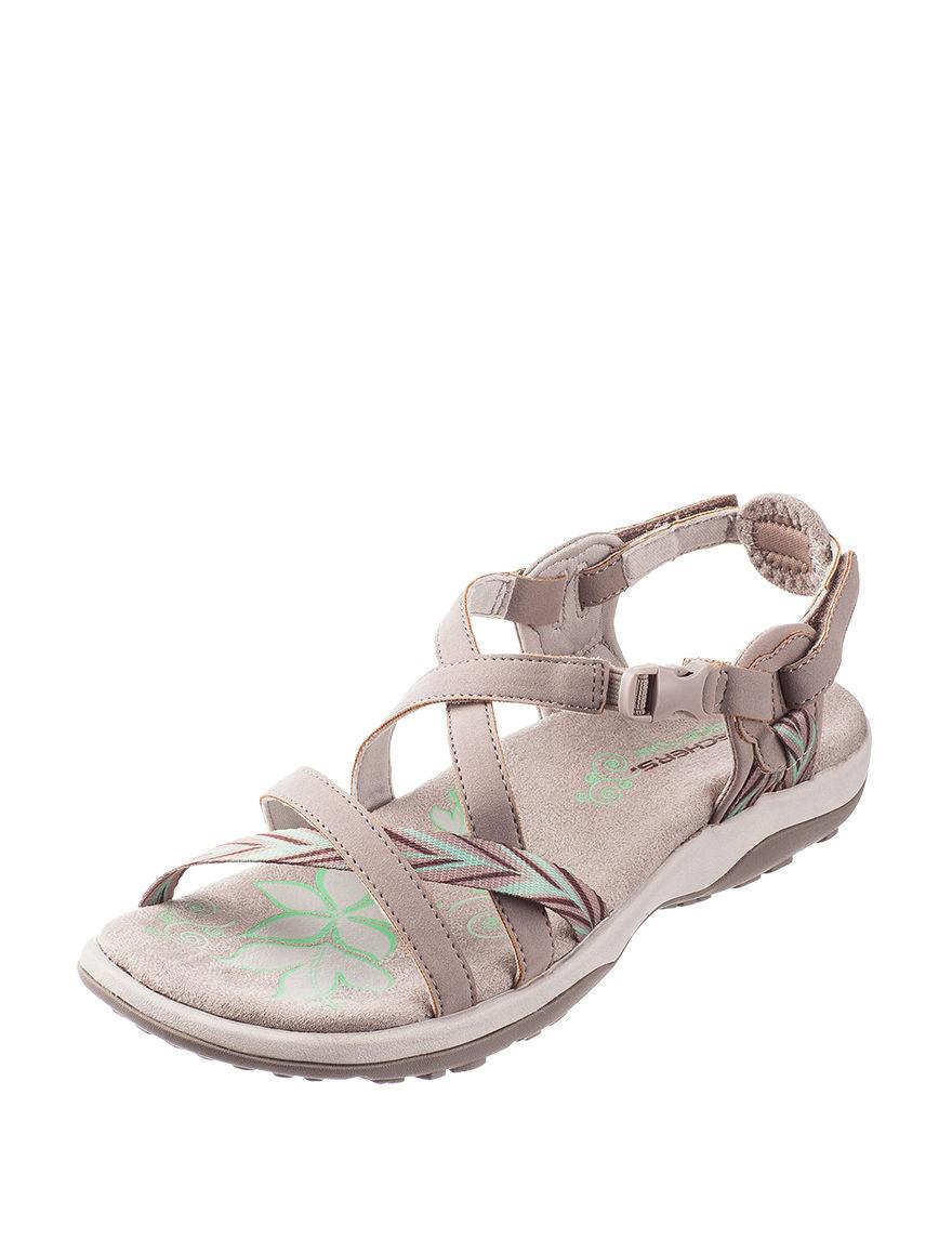 Skechers Taupe Flat Sandals Sport Sandals
