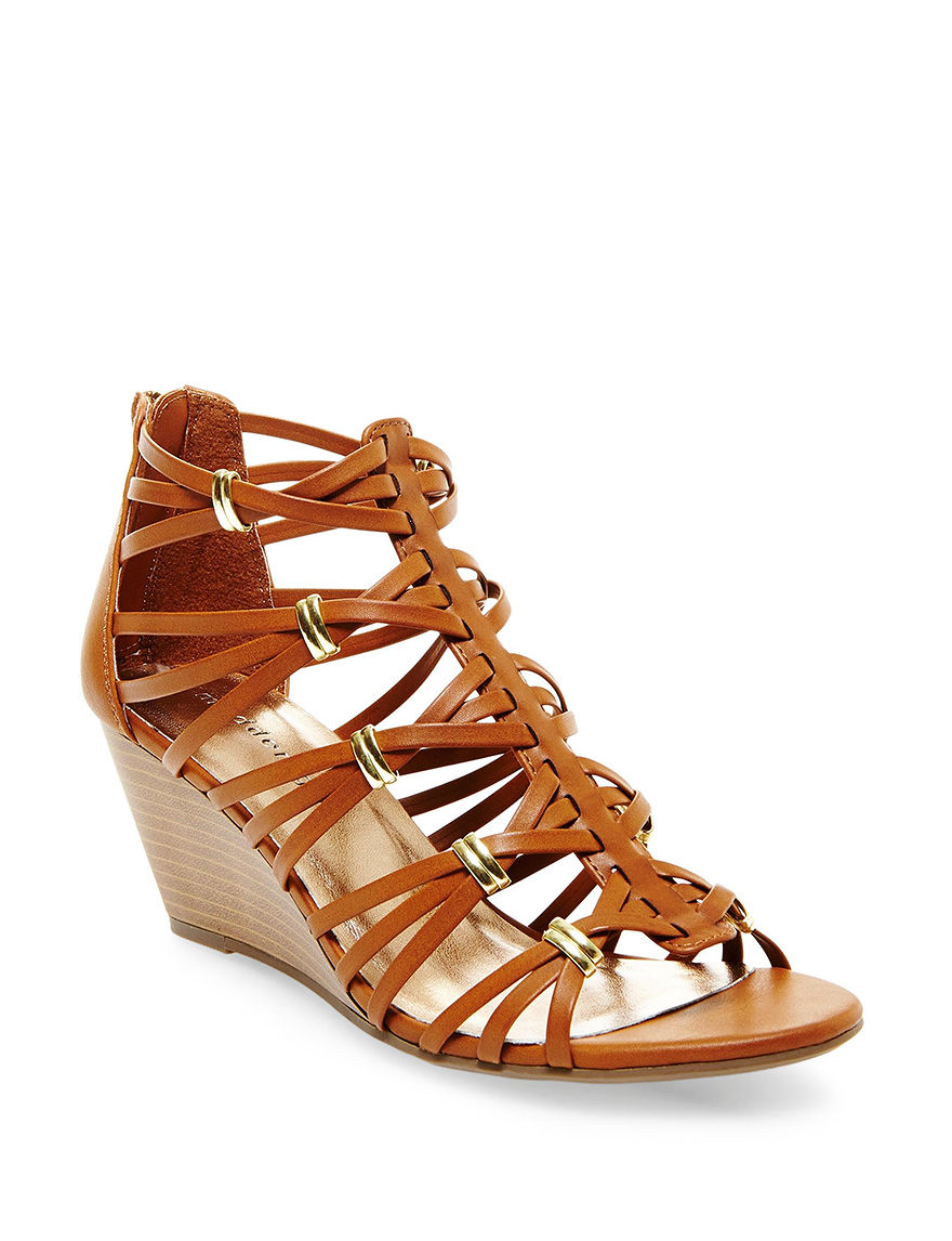 Madden Girl Cognac Wedge Sandals