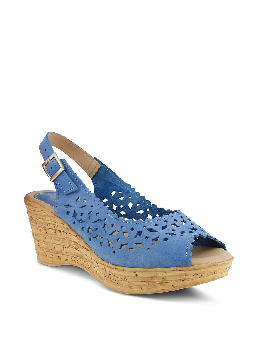 Spring Step Cobalt Blue Peep Toe Platform Wedge Sandals