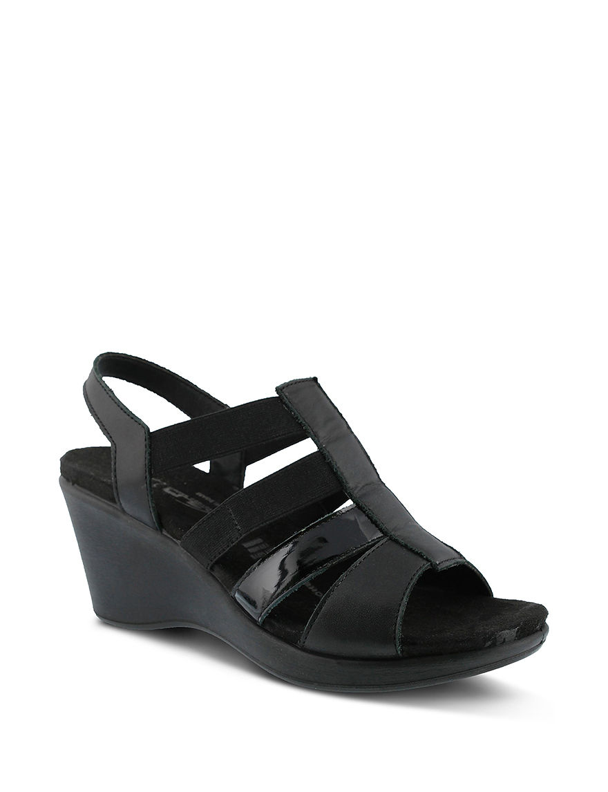 Flexus Black Wedge Sandals Comfort