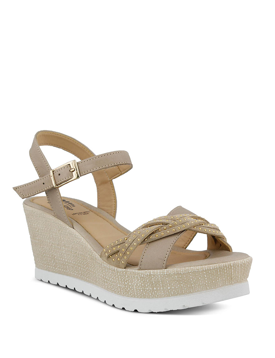 Spring Step Taupe Platform Wedge Sandals