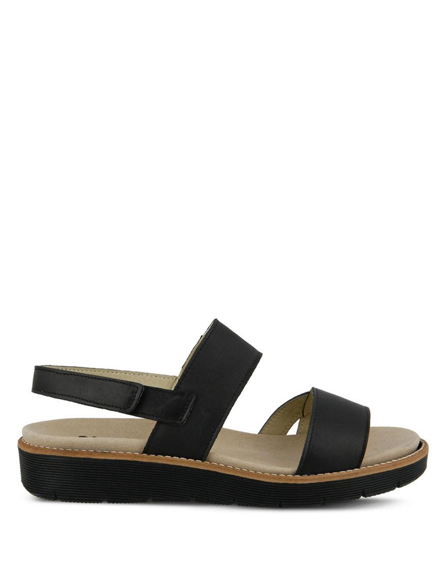 Spring Step Black Flat Sandals