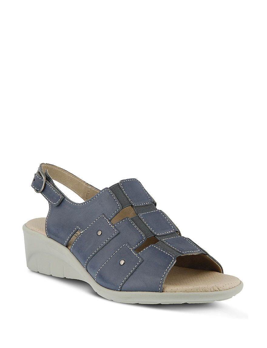 Spring Step Blue Wedge Sandals