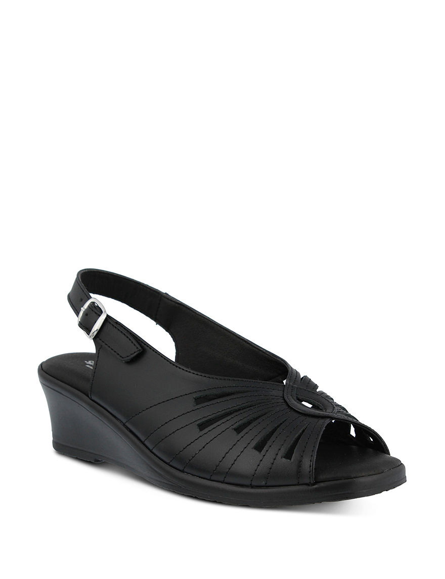 Spring Step Black Peep Toe Wedge Sandals