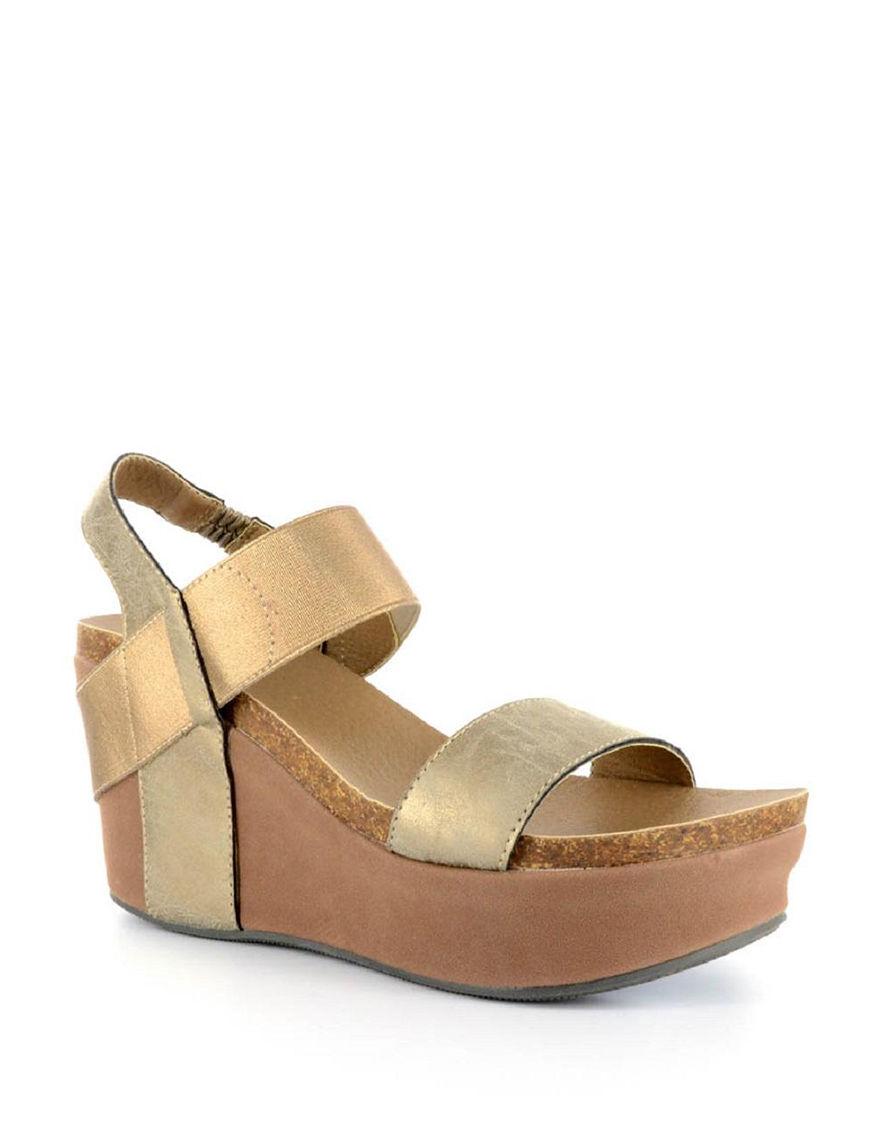 Corkys Gold Platform Wedge Sandals