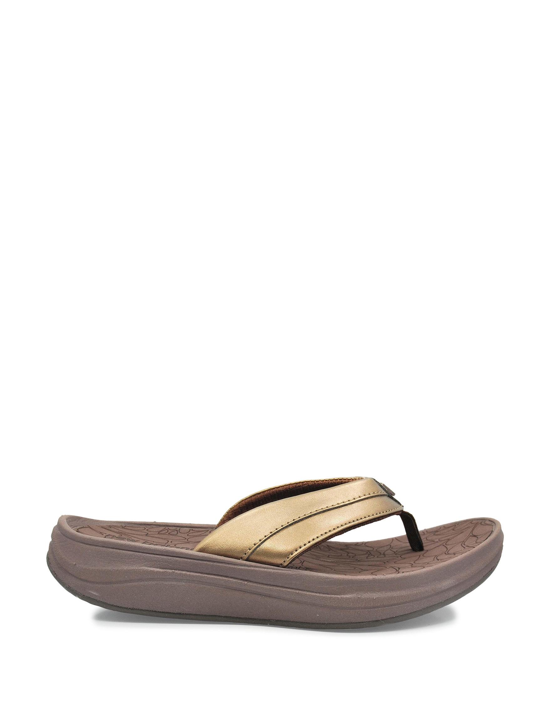 New Balance Bronze Flip Flops Sport Sandals