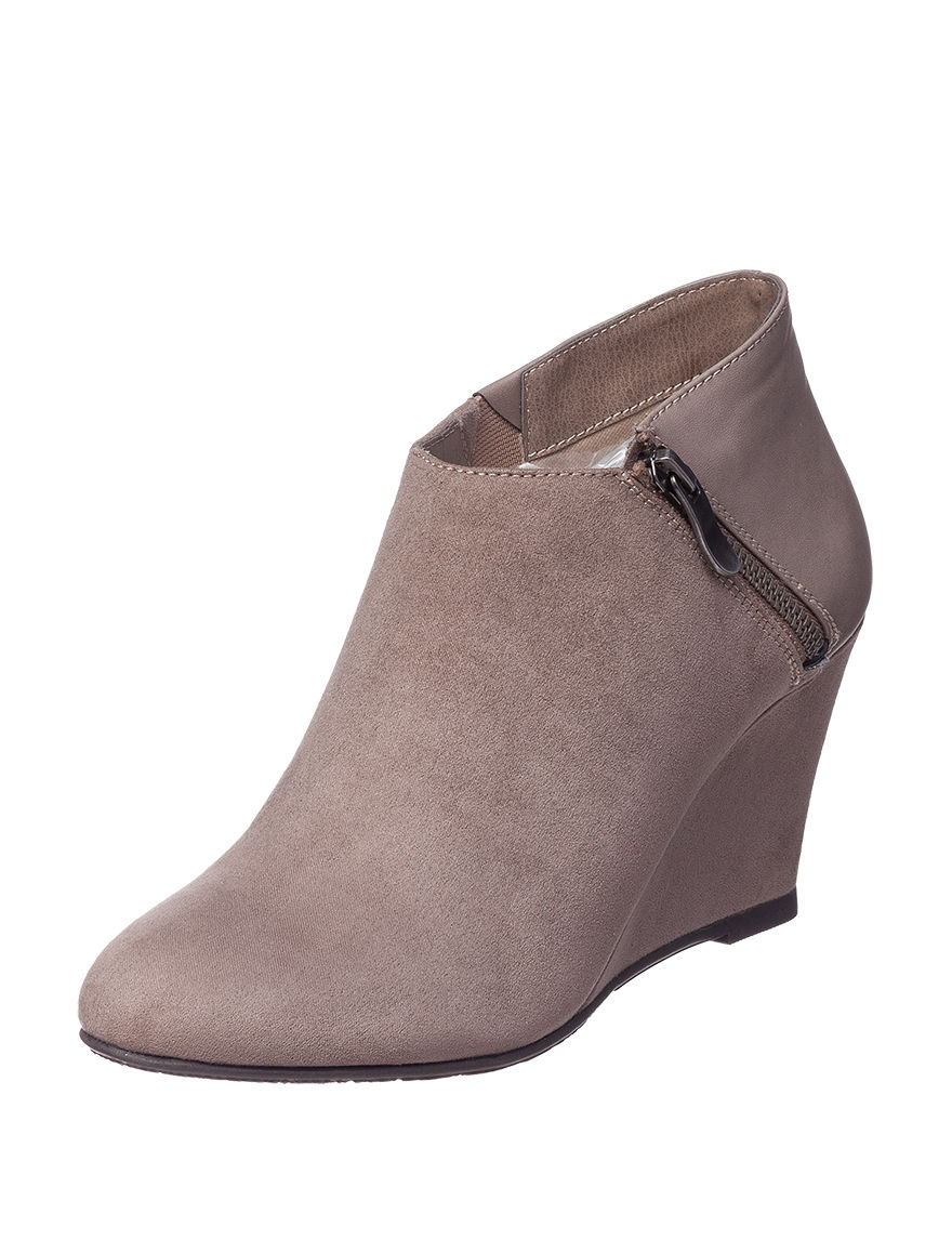 CL by Laundry Taupe Ankle Boots & Booties Wedge Boots