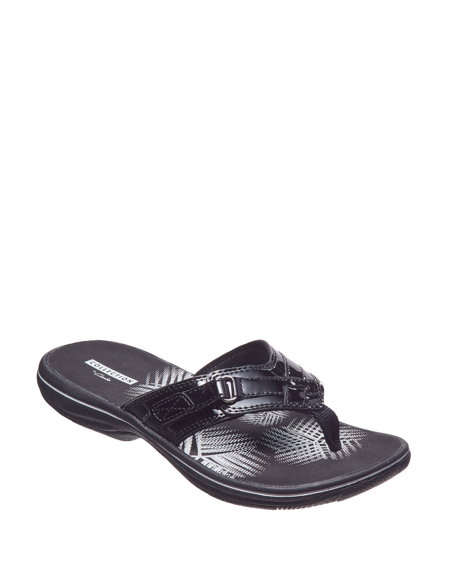 Clarks Black Comfort Shoes Flat Sandals Flip Flops