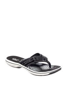 fd34cbc49215 Clarks Black White Comfort Shoes Flat Sandals Flip Flops