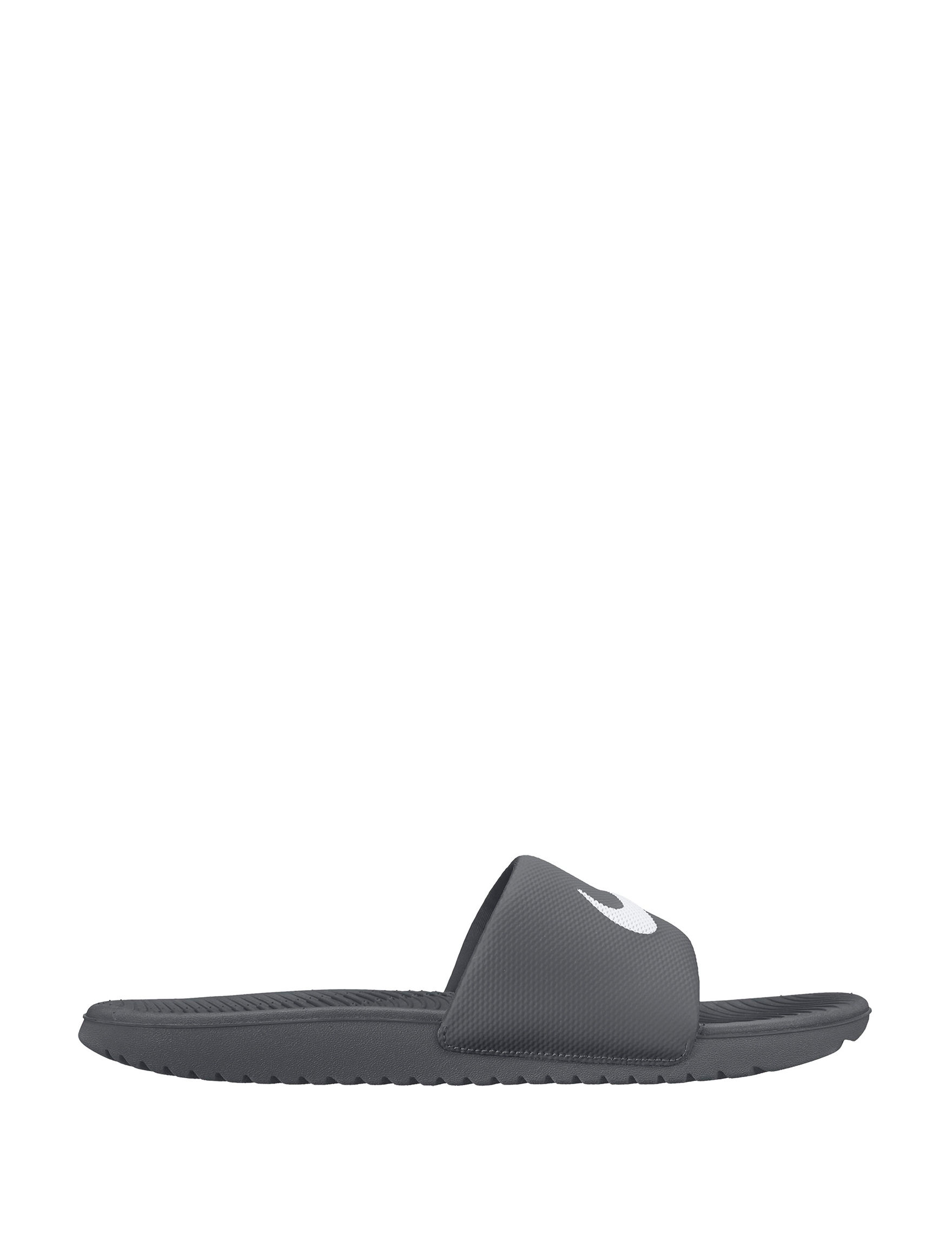 Nike Grey / White Slide Sandals