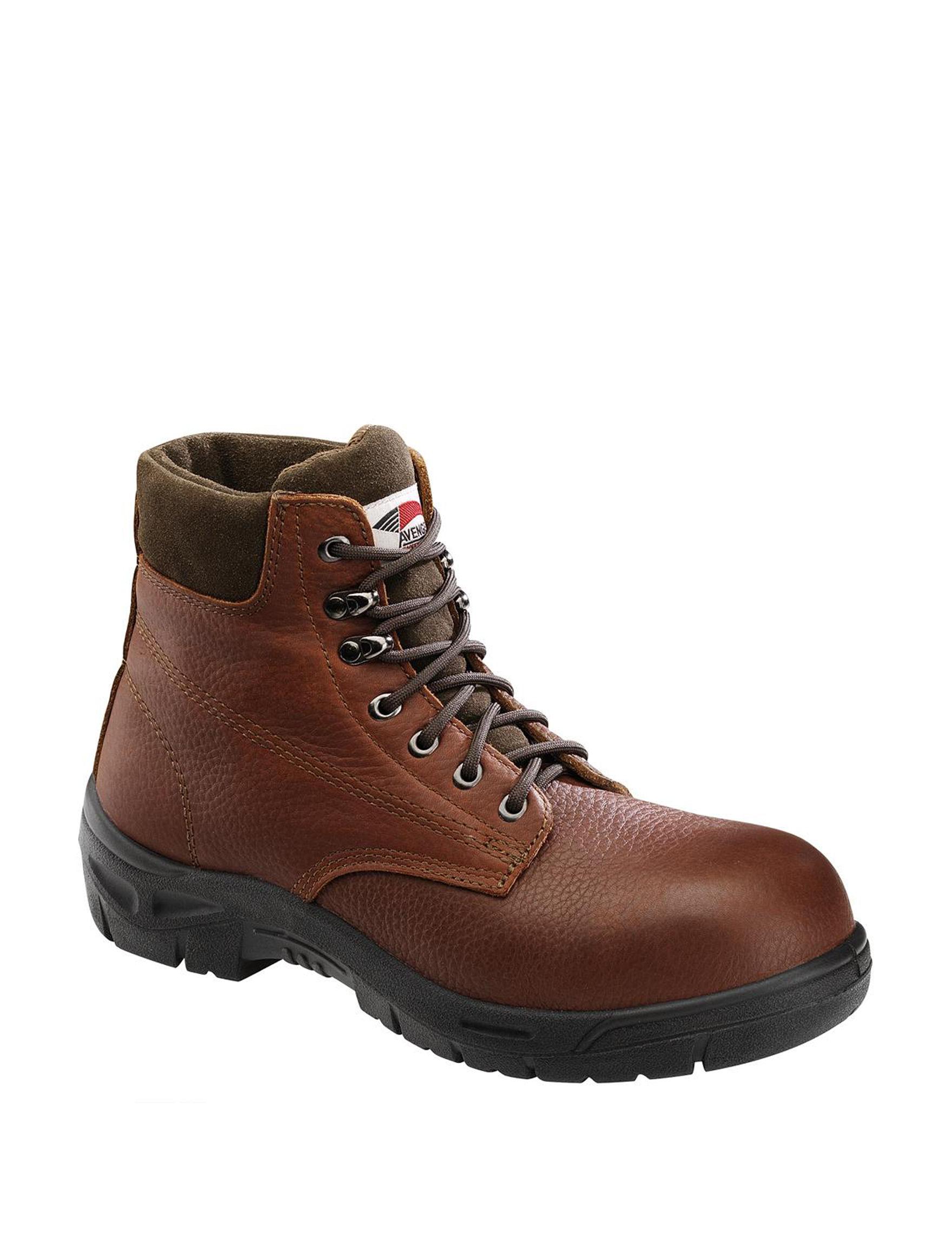 Avenger Brown Slip Resistant Steel Toe