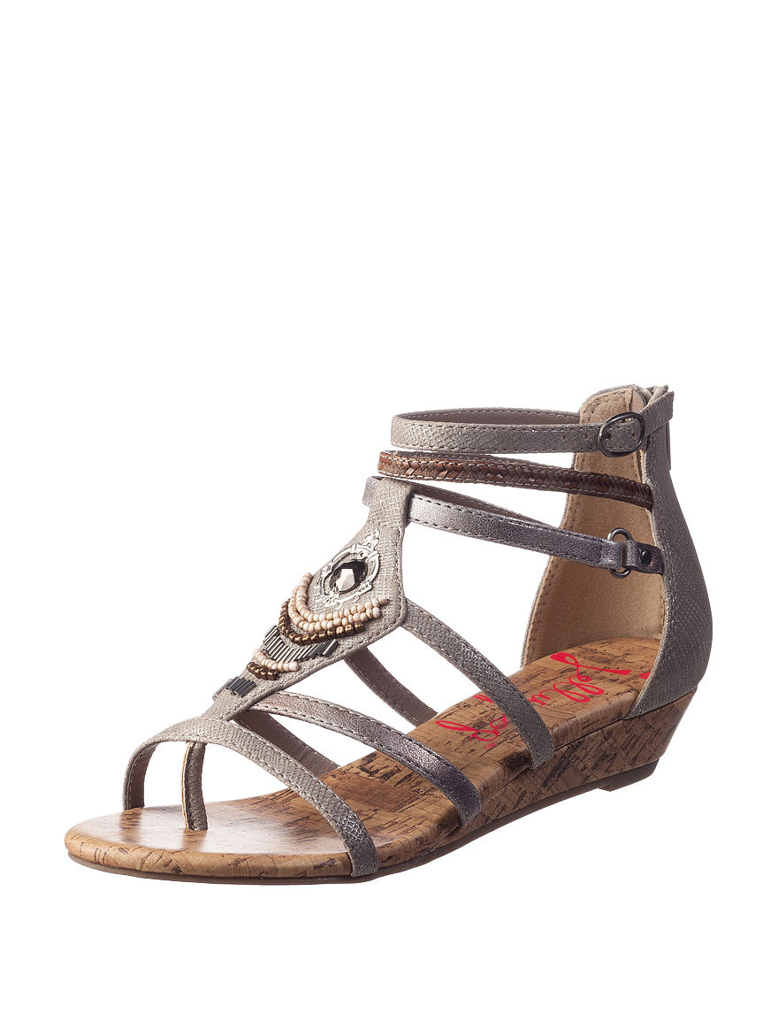Jellypop Pewter Gladiators Wedge Sandals