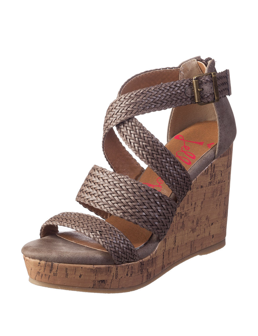 Jellypop Taupe Wedge Sandals