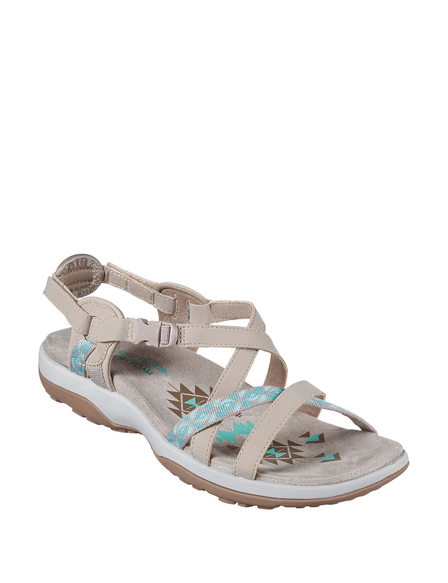 Skechers Taupe Flat Sandals Sport Sandals Comfort