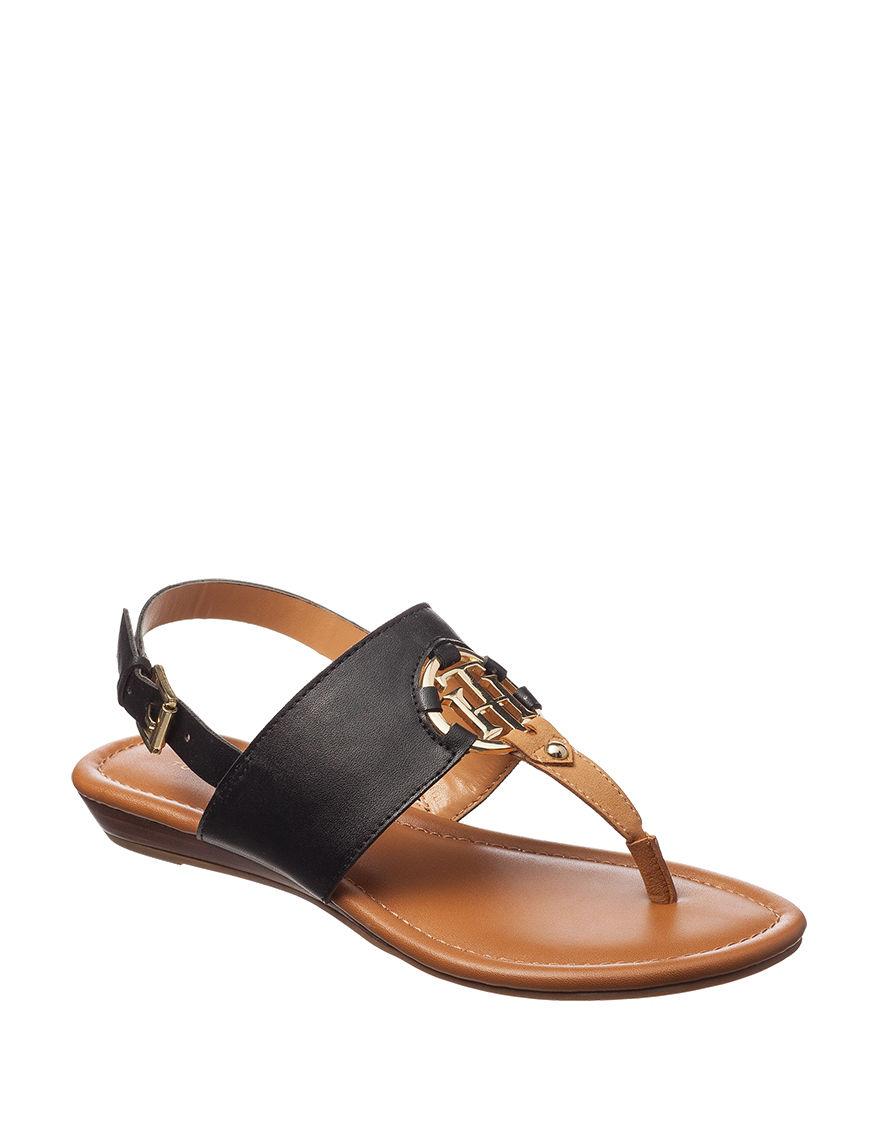 Tommy Hilfiger Black Flat Sandals