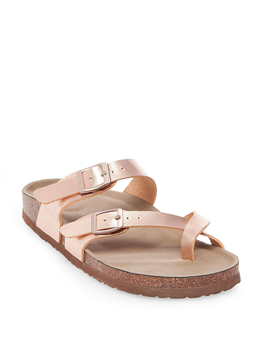 Madden Girl Rose Gold Flat Sandals Footbed Slide Sandals