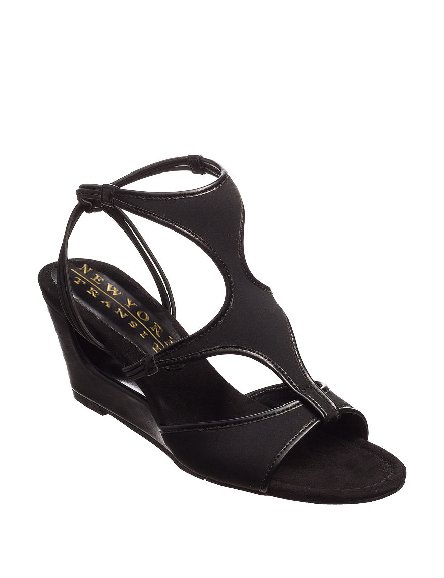 New York Transit Black Wedge Sandals