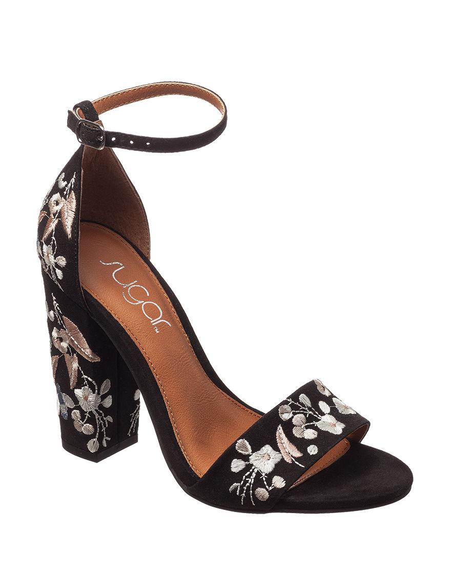 Sugar Black Heeled Sandals