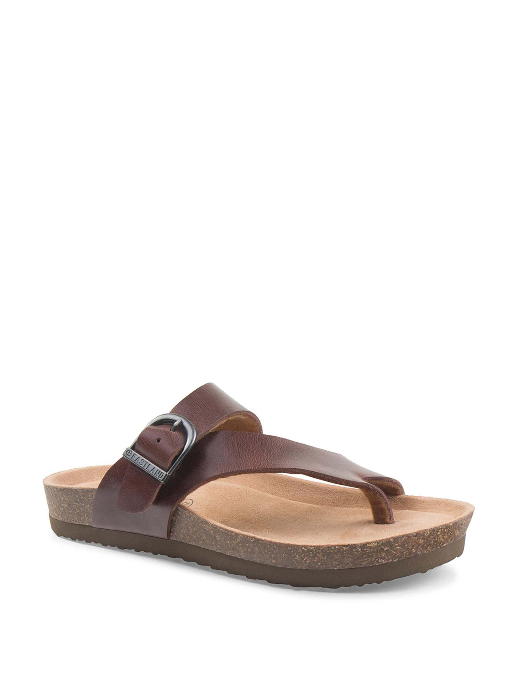 Eastland Walnut Flat Sandals Slide Sandals
