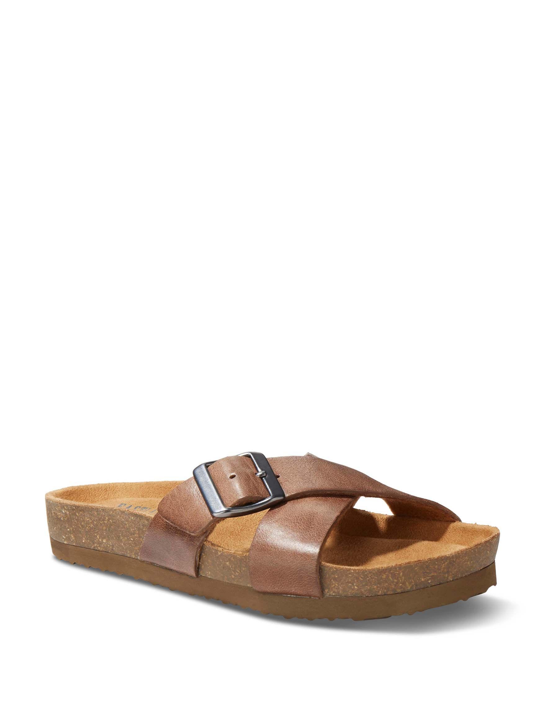 Eastland Brown Flat Sandals Slide Sandals